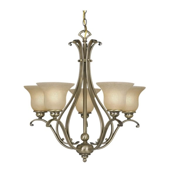 """Vaxcel Lighting CH35405 Monrovia 5-Light Single Tier Chandelier with Frosted Glass Shades - 26"""" Wide"""