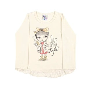 Toddler Girl Shirt Long Sleeve Little Girl Graphic Tee Pulla Bulla Size 1-3 Year