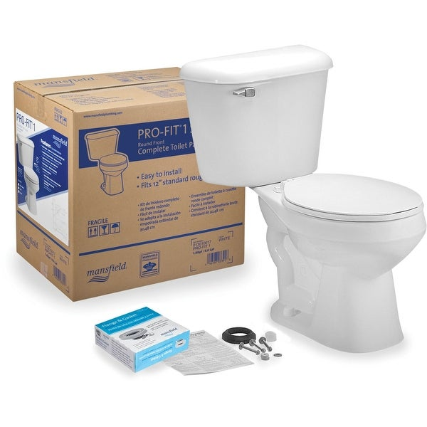 Mansfield 131CTK Pro-Fit 1.6 GPF Two-Piece Round Toilet Complete Kit - White