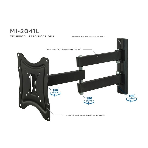 """FULL MOTION TV Wall Mount 23-55/"""" inch Swivel One Arm TV Bracket Up To 66Lb LCD"""