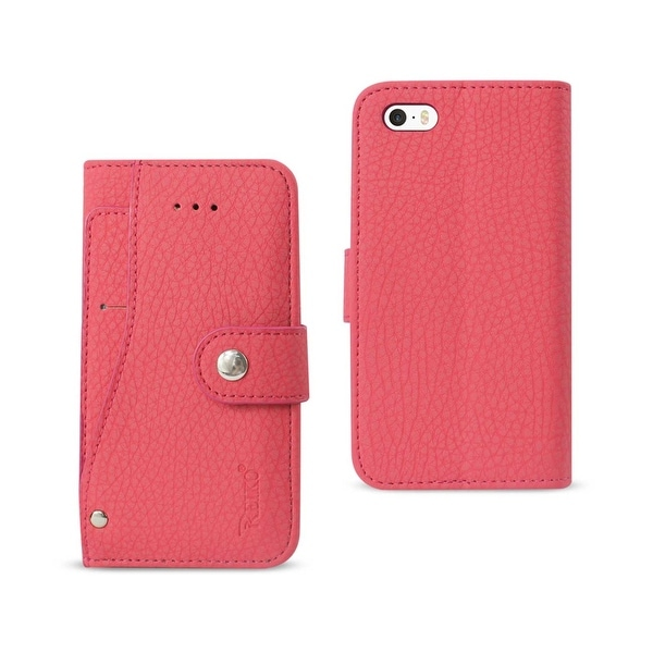 REIKO IPHONE SE WALLET CASE WITH SLIDE OUT POCKET AND FOLD STAND IN HOT PINK