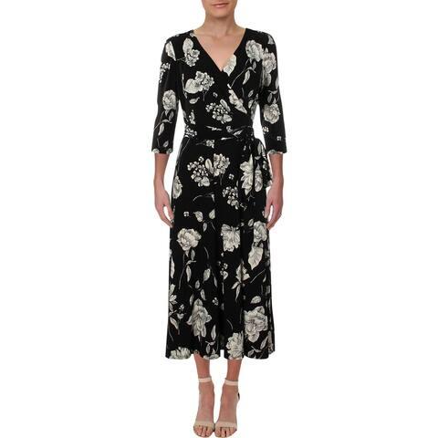Lauren Ralph Lauren Women's Carlyn Floral Print Wear To Work Dress Black Size 8