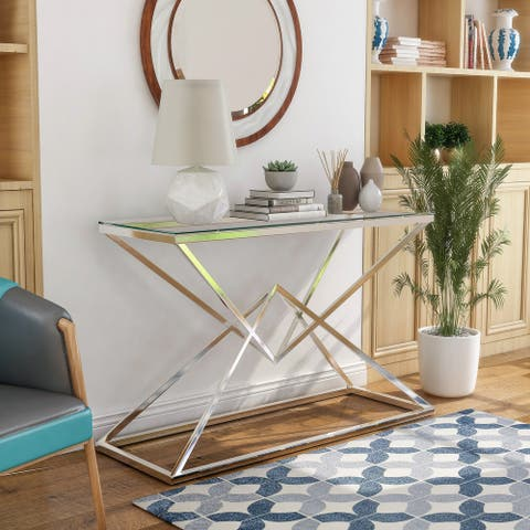 Furniture of America Stola Modern Glass Top Sofa Table