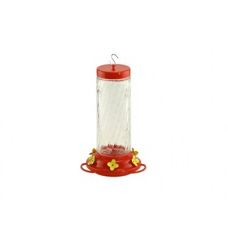 Audubon⢠NA35227 Clear Glass Swirl Optic Hummingbird Bird Feeder, 32 Oz