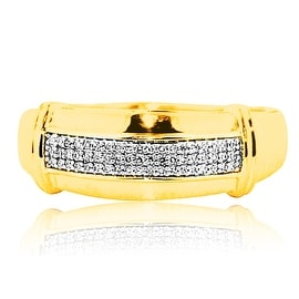 Diamond Wedding Band Mens 10K Yellow Gold 0.13cttw 3.1gm 9mm Wide Ring