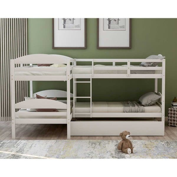 Shop Merax Twin L Shaped Triple Bunk Bed With Trundle And Ladder Overstock 31825461