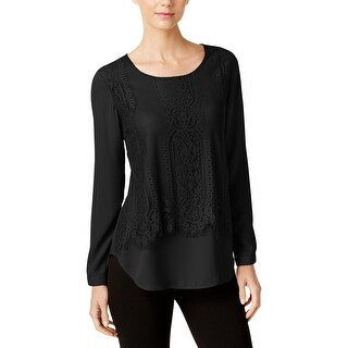 NY Collection Womens Blouse Lace Popover