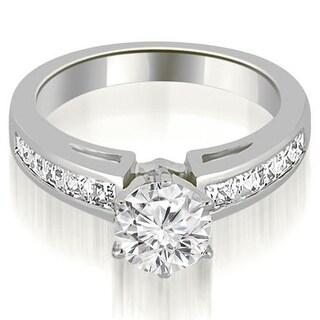 1.10 CT.TW Channel Set Princess Cut Diamond Engagement Ring - White H-I
