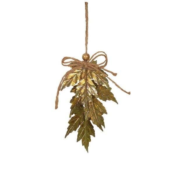 "5.5"" Luxury Lodge Green & Gold Distressed Finish Maple Leaf Cluster Christmas Ornament"