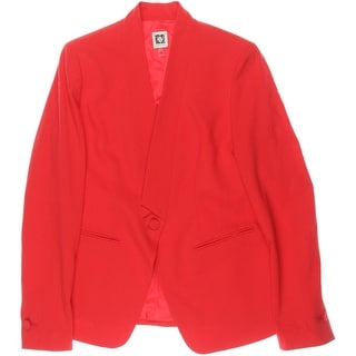 Anne Klein Womens Solid Non-Vented One-Button Blazer