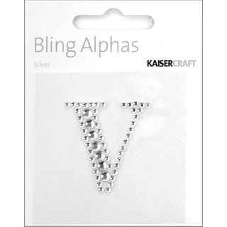 "T Kaisercraft Adhesive Rhinestone Bling Alphas 1.375/""-Silver Crystal"