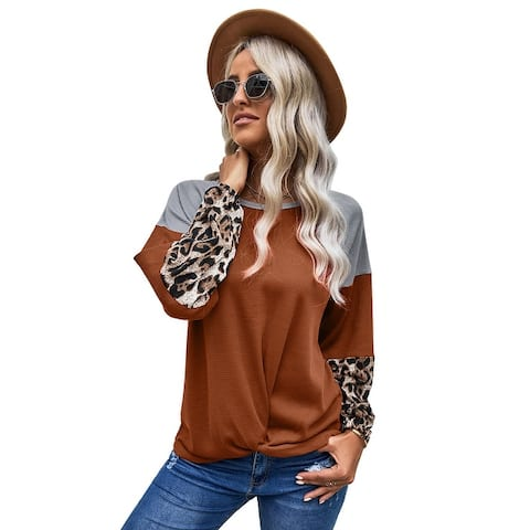 Cali Chic Women's Long Sleeve Shirt Celebrity Leopard Waffle Knit Multicolor Blouse with Twist Knot