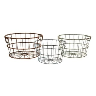 Set of 3 Red, Green and Blue Rustic Wrought Iron Storage Baskets