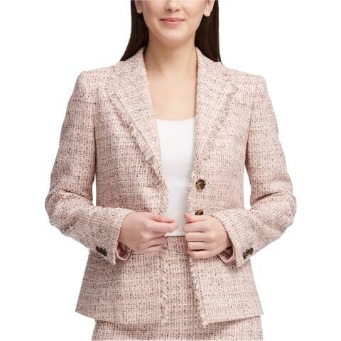 DKNY Womens Crosshatch Three Button Blazer Jacket medpink 8