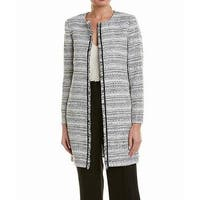 Tahari by ASL Black White Womens Size 10 Tweed Open Front Jacket