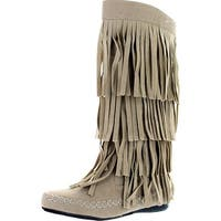 Womens 28-Mudd55 Closed Toe Mid Calf Knee High Mocassin Flat Boot