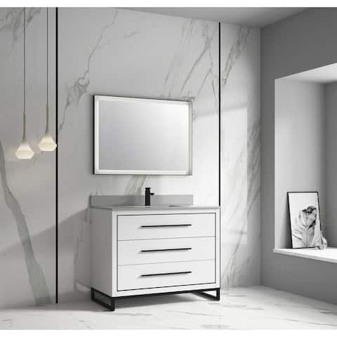 "None Kathyia 48"" Free Standing Vanity ,Gray Stone top with porcelain sink ,Matt black Hardware"