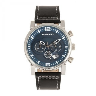 Breed Ryker Chronograph Leather-Band Watch w/Date - Black/Teal