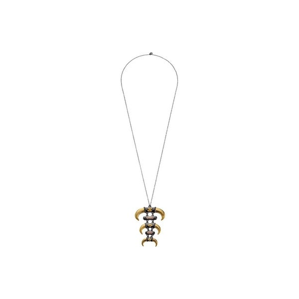 House of Harlow by Nicole Richie Womens Noble Tribe Pendant Necklace Triple Horn - gold/multi