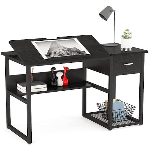Drafting Table Drawing Computer Desk Artist Craft Table with Storage Drawer