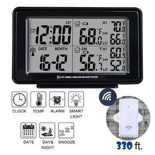 Electronic Digital Alarm Clock in Black, LCD Large Display, Indoor & Outdoor Temperature Wireless Senor, Date, Week-Black