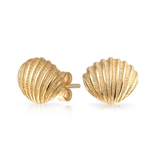 Bling Jewelry Nautical Seas Stud Earrings Gold Plated 9mm