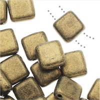 CzechMates Glass, 2-Hole Square Tile Beads 6mm, 1 Strand, Metallic Gold Suede