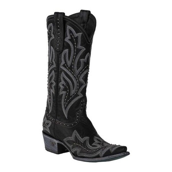 Lane Boots Women's Saratoga Stud Cowgirl Boot Black Full Grain Leather