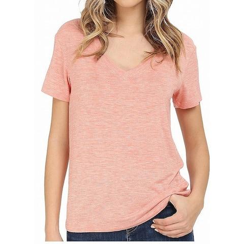 Splendid Orange Heather Coral Womens Size Large L V-Neck T-Shirt