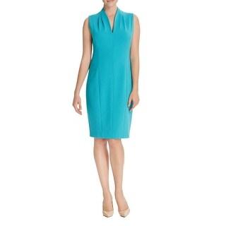 T Tahari Womens Casual Dress Split Neck Sleeveless