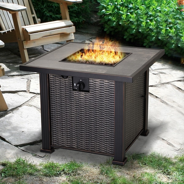 Outsunny Slate and Wicker Outdoor Gas Fire Pit Table. Opens flyout.