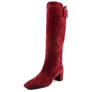 Roger Vivier New Botte Polly T.45 B.Leather Women Suede Red Knee High Boot