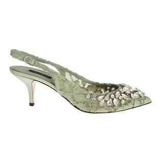 Dolce & Gabbana Green Lace Crystal Slingbacks Heels Shoes - 39