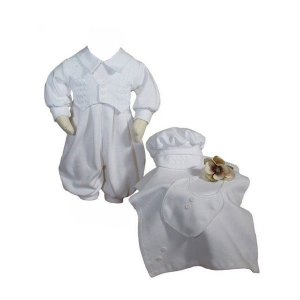 Baby Boys White 4 Pcs Cotton Long Sleeve Romper Hat Blanket Bib Set - preemie