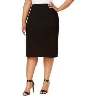Anne Klein Womens Plus Pencil Skirt Knee-Length Ruched