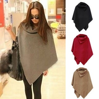 Women Fashion Cape Solid Color Loose Poncho Cloak Coat Tops Outwear Overcoats