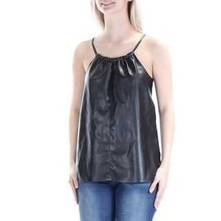 CHELSEA SKY $68 Womens New 1481 Black Jewel Neck Spaghetti Strap Top S B+B