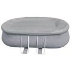 19.5' Durable Apertured Oval Shaped Gray Pool Cover with Rope Ties