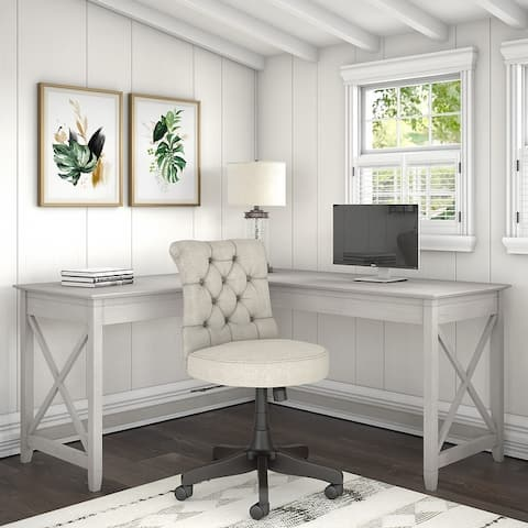 Key West 60W L-Desk with Tufted Office Chair by Bush Furniture