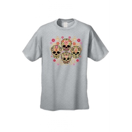 Men's T-Shirt Four Flowered Sugar Skulls Katrinas Skeleton Grim Reaper Tee