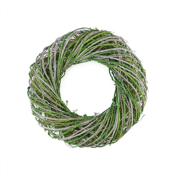 "14"" Green and White Twig and Moss Artificial Spring Time Wreath"