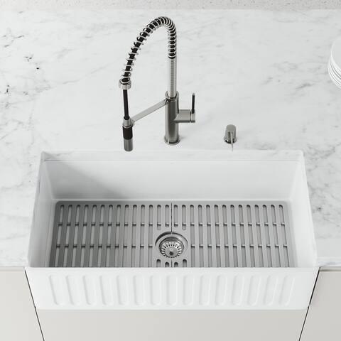 Matte Stone White Reversible Single Basin Casement Farmhouse Kitchen Sink Set