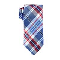 RALPH LAUREN RL Handmade Plaid Classic Silk and Linen Tie Navy Blue and Red