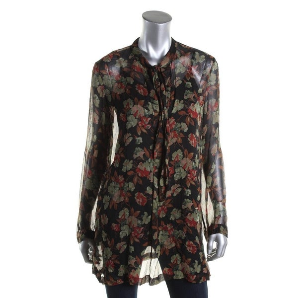 Polo Ralph Lauren Womens Blouse Silk Floral Print