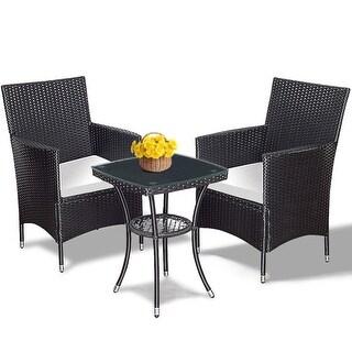 Costway 3PCS Patio Garden Rattan Wicker Furniture Set Sofa Cushioned Table  W/Lower Shelf