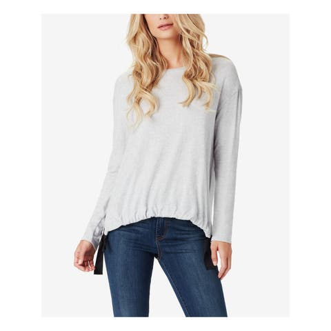 JESSICA SIMPSON Womens White Tie-hem Long Sleeve Top Juniors Size: S