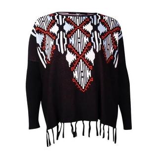 Kensie Women's Fringe Printed Sweater (M/L, Black Combo) - M/L