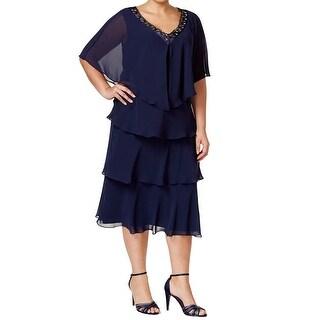 SLNY SL Fashions Plus Size Beaded Tiered Sheath Dress