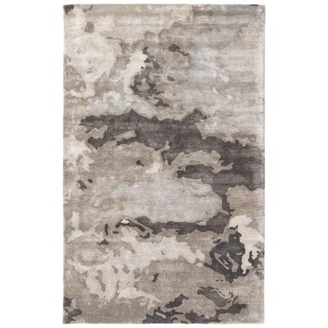 Mudra Handmade Abstract Grey/ Silver Area Rug