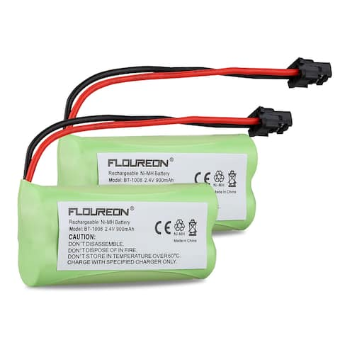 2X Floureon Uniden BT-1008 Battery A 2.4V 900mAh Ni-MH